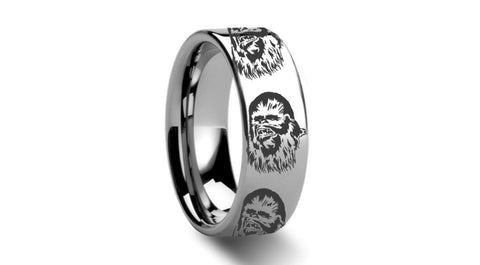 Star Wars inspired  Chewbacca 8mm Tungsten Carbide Men's Band