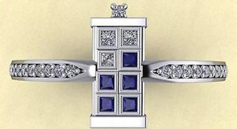 Tardis 1.05ct Blue Sapphire and Diamond Engagement Ring.