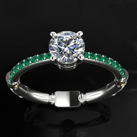 Sci Fi Inspired 2.10ct Moissanite and Emerald Light Saber Engagement Ring