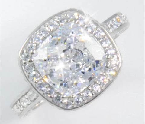 6ct Radiant Cushion Cut Engagement/ Right Hand Ring.
