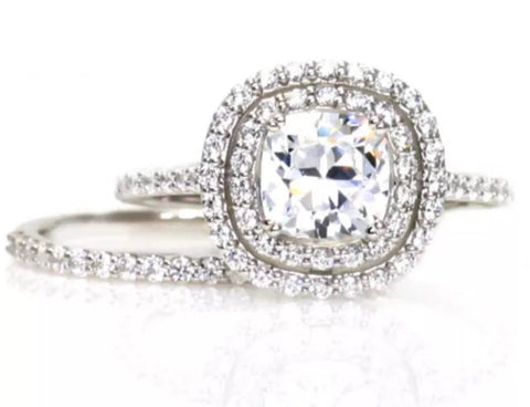 2.0 CTW Cushion Cut Halo Engagement Ring and Wedding Band Set in 14k Solid White Gold