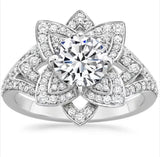 2.55 CTW Round Brilliant Lotus Engagement/ Right Hand Ring set in 14k aolid white gold