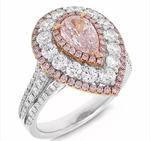 3.75 CTW Pink Pear Brilliant Cut Lab Created Diamond Engagement Ring set in solid 14k Gold