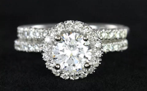 1.50ct Lab Created Diamond Halo Engagement Ring and Wedding Band in 14k gold