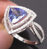 Brilliant Trillion Cut 1.03 Tanzanite and Diamond Engagement/Right Hand Ring.
