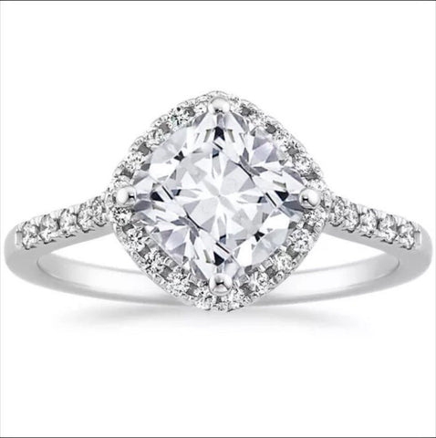 Cushion Cut 1.70ctw Halo Engagement Ring in 14k White Gold