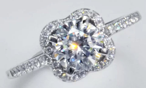 1ct Flower Halo Engagement/Right Hand Ring