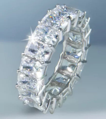 Radiant Cut Lab Created Diamond Eternity Band set in 14k Gold