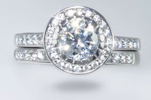 2ct Round Brilliant Halo Engagement Ring and Matching Wedding Band. Lab Created Diamonds