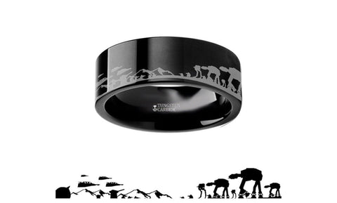 ON SALE Star Wars Battle of Hoth Tungsten Wedding Ring BLACK Sz 13.5 8mm