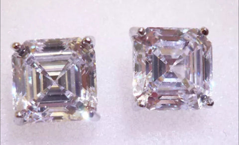 2 ct Asscher Cut Lab Created Diamond Stud Earrings set in 14k Gold