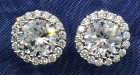 2ct Moissanite Halo Stud Earrings