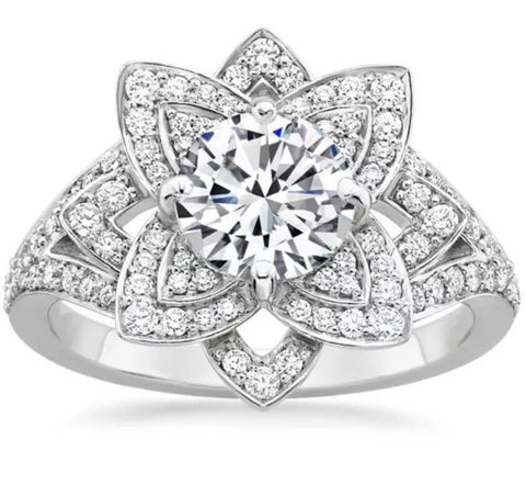 Lab Diamond Flower Engagement Ring set in 14k