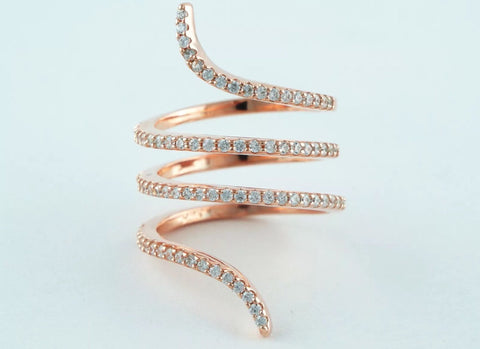 Lab Created Diamond Micro Pave' Serpent Ring