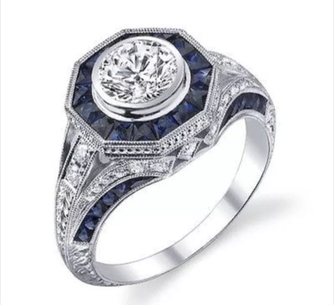 3.08 ct Lab Created Diamond and Sapphire Antique inspired Art Deco Engagement Ring set in 14k gold