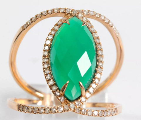 Marquise cut Green Agate and 0.27ct natural diamonds in 14k