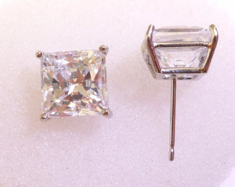 3ct Princess Cut Lab Diamond Stud Earrings