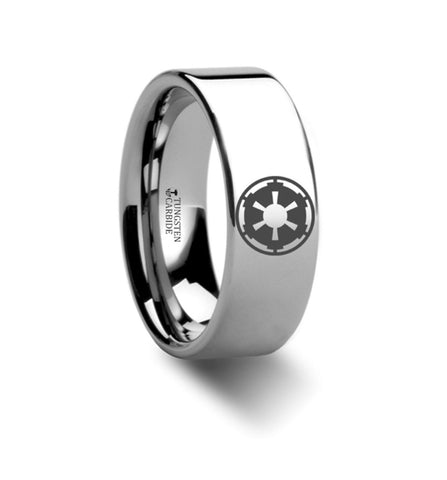 Star Wars Sith Imperial Emblem Polished Tungsten Engraved Band 8mm