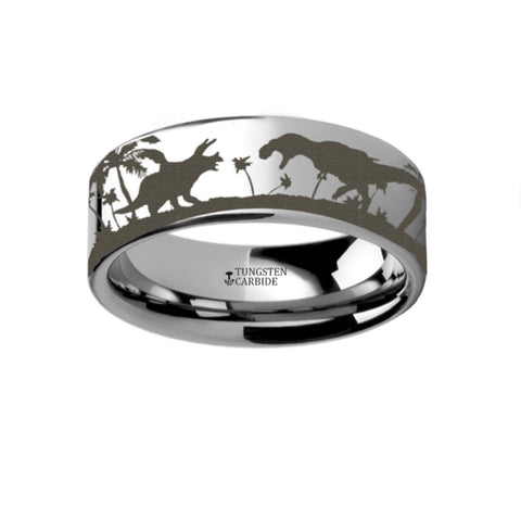 Prehistoric Dinosaur Jurassic Park Themed Portrait Ring Engraved Flat Tungsten Ring