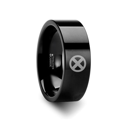 X-Men Symbol Super Hero Movie Tungsten Engraved Ring Jewelry - 8mm