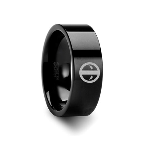 Deadpool Mercenary Symbol Super Hero Movie Tungsten Engraved Ring Jewelry - 8mm