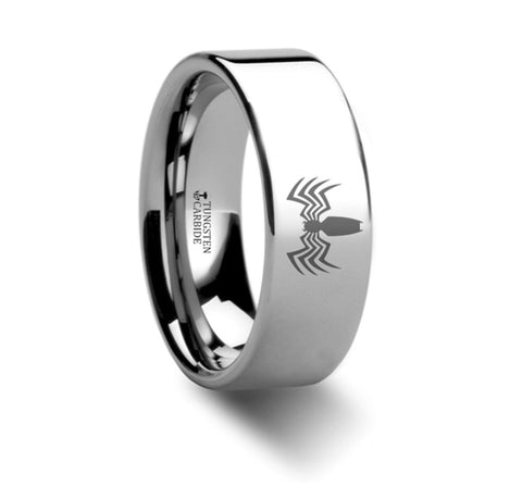 ON SALE Venom Spider Symbol Hero Polished Tungsten Engraved Ring Jewelry - SIZE 8