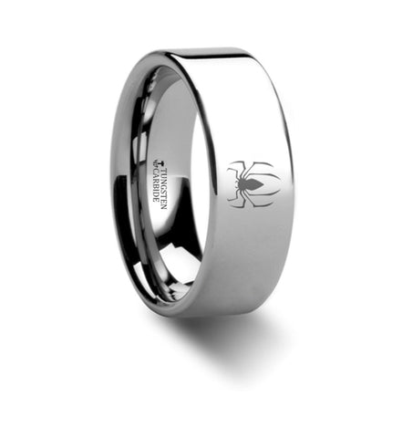 Spiderman Spider Symbol Hero Polished Tungsten Engraved Ring Jewelry - 8mm