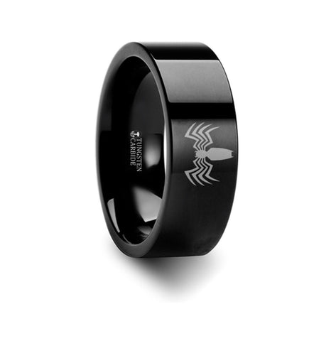 Venom Spider Symbol Hero Polished Tungsten Engraved Ring Jewelry - 8mm