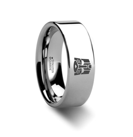 Transformers Autobots Symbol Hero Polished Tungsten Engraved Ring Jewelry - 8mm