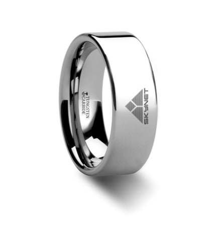 Skynet Terminator Symbol Hero Polished Tungsten Engraved Ring Jewelry - 8mm