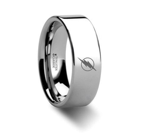 The Flash Speed Fast Runner Symbol Super Hero Movie Tungsten Engraved Ring Jewelry - 8mm
