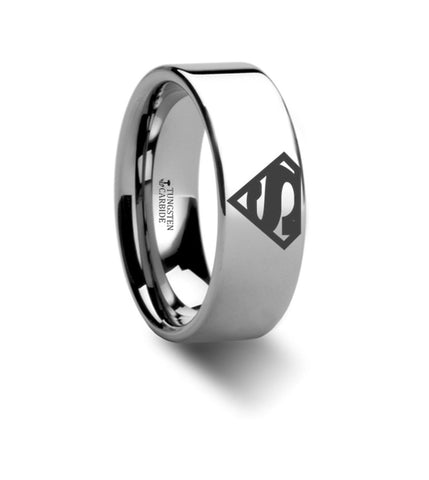 Superman Symbol Super Hero Polished Tungsten Engraved Ring Jewelery - 8mm