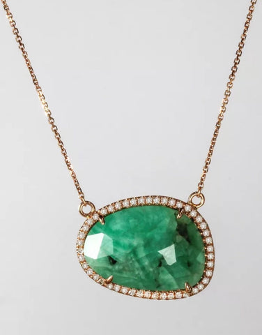 Emerald and Diamond Pendant on 14k Rose Gold Chain