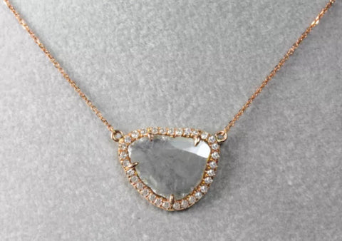 Sliced Diamond with Pave' Pendant on 14k Rose Gold Chain