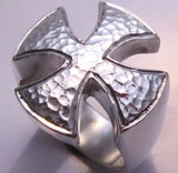 Sterling Silver Hammered Maltese Cross Ring