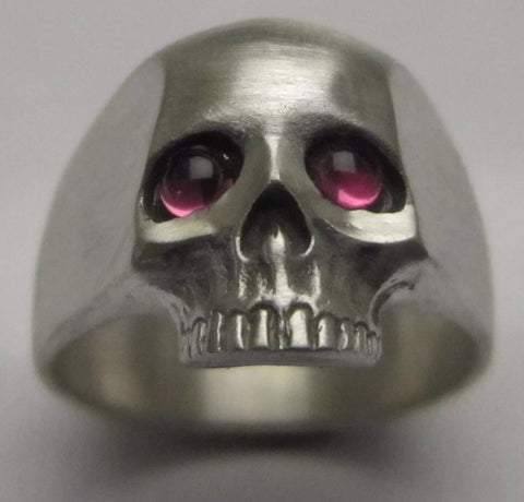 Sterling Silver and Cabachon Tourmaline Skull Ring
