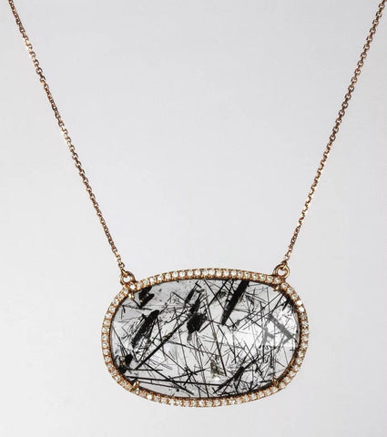 18k Rose Gold Diamond and Sliced Tourmalinated Quartz Pendant on 18k Rose Gold Chain