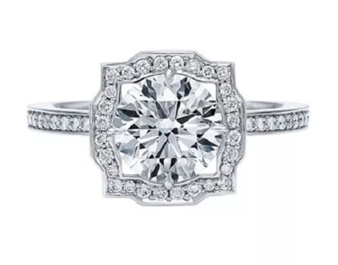 1.67 ctw Round Brilliant Art Deco Hexagon Engagement Ring