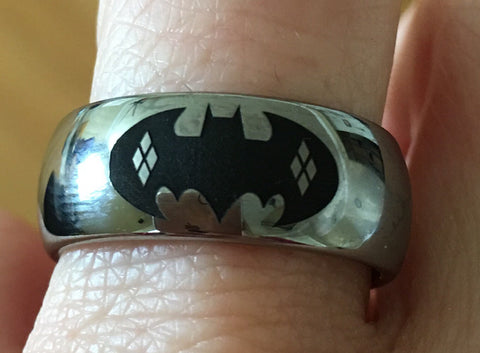 Batman/Harley Quinn Tungsten Wedding Band