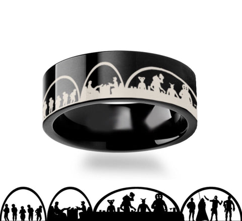 Mos Eisley Cantina Star Wars Black Tungsten Engraved Ring