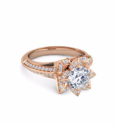 14k 200ct Lab Created Lotus Flower Engagement Ring On The Rocks 70