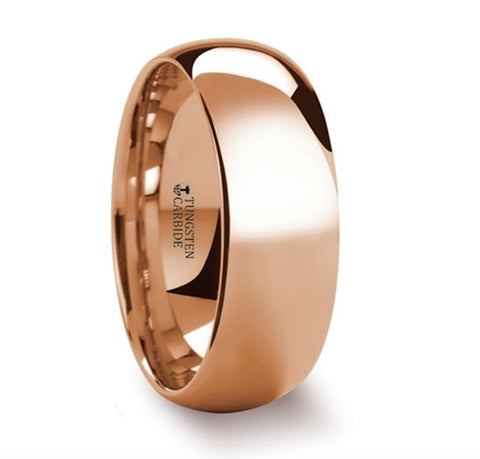Traditional Domed Rose Gold Plated Tungsten Carbide Wedding Ring - 4mm - 8mm