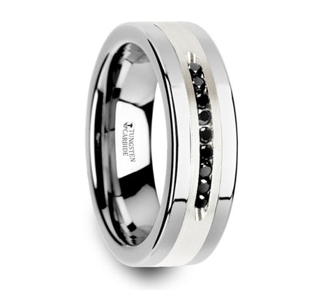 Flat Tungsten Wedding Band with Brushed Silver Inlay Center and 9 Channel Set Black Diamonds - 8mm