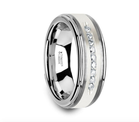 Tungsten Wedding Band with Raised Center & Brushed Silver Inlay and 9 Channel Set White Diamonds