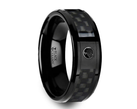 Black Ceramic Ring with Black Diamond Wedding Band and Black Carbon Fiber Inlay - 8mm