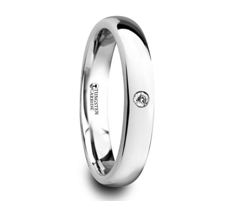 Polished and Domed Tungsten Carbide Wedding Ring with White Diamond - 4mm