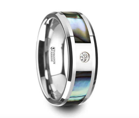 Mother of Pearl Inlay Tungsten Carbide Ring with Beveled Edges and White Diamond - 8mm
