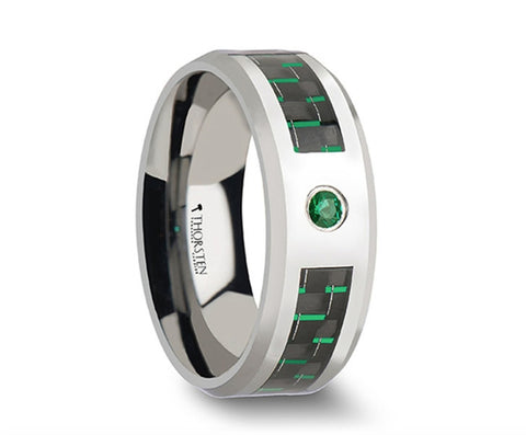 Green Lantern Tungsten Carbide Ring with Black & Green Carbon Fiber and Green Emerald - 8mm