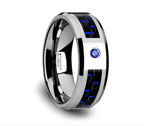 Blue Lantern Tungsten Carbide Ring with Bevels - 8mm