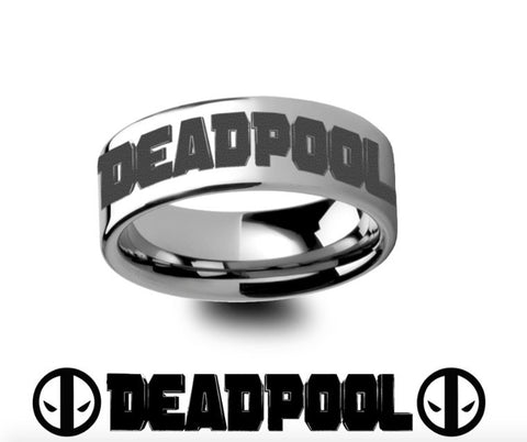 Deadpool Title Mercenary Super Hero Movie Tungsten Engraved Ring Jewelry - 4mm-8mm